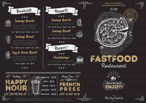 Chalkboard menu design. Menu template. Chalkboard menu background. Fast food menu design template. Food menu card. Black menu design. Pizza, burgers, drinks and other hand drawing elements in vintage style. Restaurant menu board.