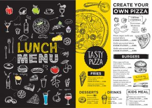 Menu placemat food restaurant brochure template design. Vintage creative dinner board flyer with hand-drawn graphic.